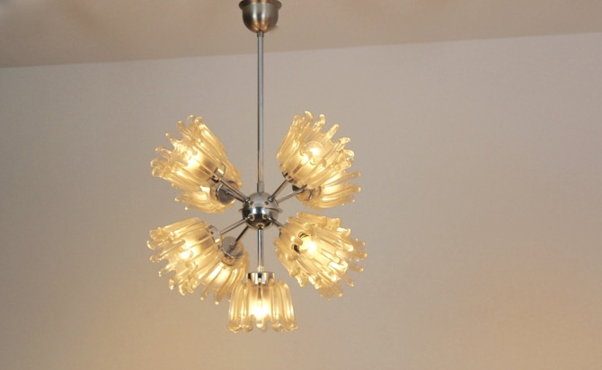 Chrome and frosted tulip glass chandelier by doria mooiestukken aloadofball Image collections