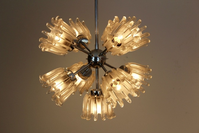 Chrome and frosted tulip glass chandelier by doria mooiestukken mozeypictures Choice Image
